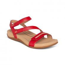 Women's Gabby Adj Qtr Strap Red by Aetrex in St Joseph MO