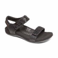 Women's Marcy Embellished Qtr Strap Black by Aetrex in Mt Pleasant IA