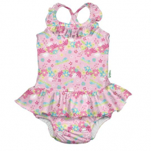 1pc Ruffle Swimsuit w/Built-in Reusable Absorbent Swim Diaper
