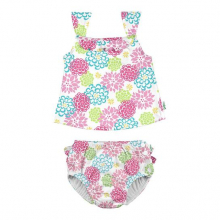 2pc Ruffle Tankini Swimsuit Set with Snap Reusable Absorbent Swim Diaper by Green Sprouts, Inc.