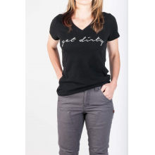Get Dirty Graphic V-Neck Tee in Black