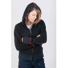 Women's Rugged Zip Up Double Layer Hoody in Black
