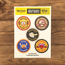 NOLA Merit Badges - Seafood Sticker Sheet by Dirty Coast in Squamish BC