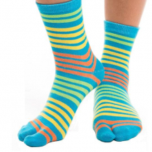 Blue with yellow, orange stripes, and light blue stripes - Crew
