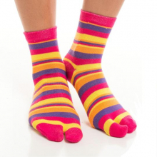 Pink with purple, yellow and orange stripes - Crew