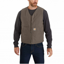 Men's OV394 Washed Duck Sherpa Lined Vest