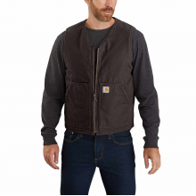 Men's OV394 Washed Duck Sherpa Lined Vest by Carhartt
