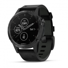 Garmin fēnix 5 Plus Sapphire, Black with Black Leather Band by Garmin in Carlsbad CA