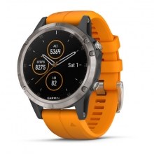 Garmin fēnix 5 Plus Sapphire, Titanium with Solar Flare Orange Band by Garmin in Red Deer Ab