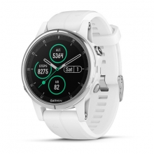 Garmin fēnix 5S Plus Sapphire, White with Carrera White Band by Garmin in Carlsbad CA