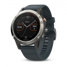 Garmin Silver fēnix® 5 with Granite Blue Band by Garmin in Nanaimo Bc