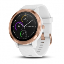 Garmin vívoactive® 3, White with Rose Gold Hardware by Garmin in North Vancouver Bc