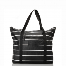 Pinstripe Zipper Tote by ALOHA Collection