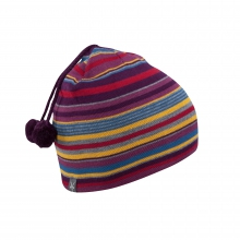 Women's Stripe Double Pom Beanie by Ibex in Okemos Mi