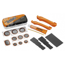 Patch Kit w/18 patches, 3 tire levers, 10ml adhesive, 8cm valve hose and sandpaper... by Icetoolz