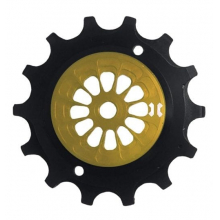 PULLEY SRAM 12V EAGLE XX1 lower jockey, 14 teeth. CNC Arnite plastic, aluminum shell, over sized sealed bearing - Yellow/Black