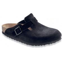 Boston Black Suede Soft Footbed by Birkenstock
