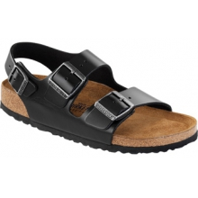 Milano Soft Footbed Black Amalfi Leather by Birkenstock