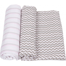 Muslin Swaddle - Pink & Gray Swaddle 2-Pack by MiracleWare
