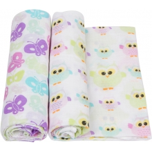 Muslin Swaddle - Owls & Butterflies Swaddle 2-Pack by MiracleWare