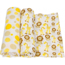 Muslin Swaddle - Giraffes & Lions Swaddle 2-Pack by MiracleWare
