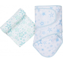 Muslin Swaddle - Aqua Stars Miracle Blanket & Swaddle Set by MiracleWare