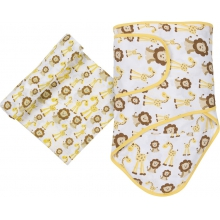 Muslin Swaddle - Giraffes & Lions Miracle Blanket & Swaddle Set by MiracleWare