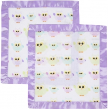 Security Blanket 2 Pack - Owls with Purple Trim by MiracleWare