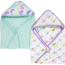 Hooded Towels 2 Pack - Butterflies & Owls MiracleWare Muslin  by MiracleWare