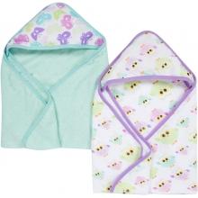 Hooded Towels 2 Pack - Butterflies & Owls MiracleWare Muslin  by MiracleWare