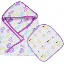 Hooded Towel & Washcloth Set - Butterflies & Owls MiracleWare Muslin
