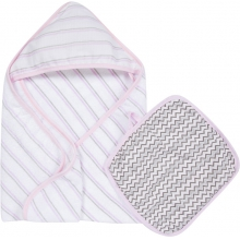 Hooded Towel & Washcloth Set - Pink & Gray MiracleWare Muslin  by MiracleWare in Dublin Ca