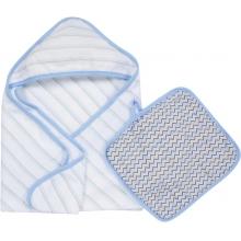 Hooded Towel & Washcloth Set - Blue & Gray MiracleWare Muslin by MiracleWare