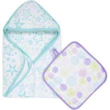 Hooded Towel & Washcloth Set - Colorful Bursts MiracleWare Muslin  by MiracleWare