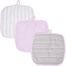 Baby Washcloths 3-pack - Pink MiracleWare Muslin  by MiracleWare