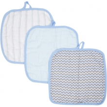 Baby Washcloths 3-pack - Blue MiracleWare Muslin  by MiracleWare