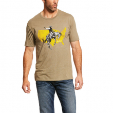 MNS AMERICAN RODEO SS T-SHRT OILVE HTHR by Ariat
