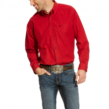 MNS CARPENTER LS PERF SHIRT SCARLET RUBY by Ariat