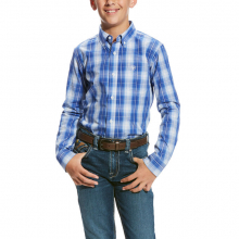 BOYS PABLO LS PERF SHIRT WASHED COBALT by Ariat