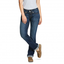 Women's R.E.A.L. Mid Rise Stretch Rookie Stackable Straight Leg Jean by Ariat in Fort Collins CO