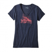 Women's Flying Fish Rapids Cotton/Poly V-Neck T-Shirt by Patagonia