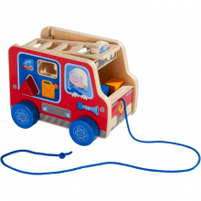Pulling figure Fire Engine by HABA