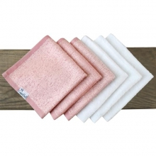 White / Pink Bamboo Washcloth by Copper Pearl