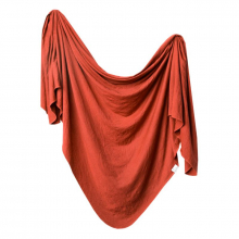 Rust Knit Swaddle Blanket