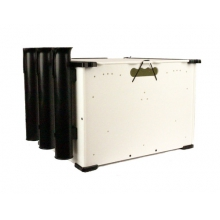 BlackPak, 12X16X11, White, Includes lid and 3 rod holders