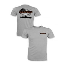 Kayak Fish the USA Short Sleeve Tee Shirt, Heather Charcoal, L by YakAttack in Cotter Ar