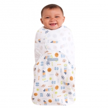 SwaddleSure Adj Swaddling Pouch 100% Cotton Blue Sport Champ Small by Halo