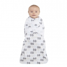 SwaddleSure one-piece swaddle, Size Small, Neutral Leaves Print, 100% cotton by Halo
