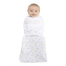 SwaddleSure one-piece swaddle, Size Small, Boy Print Tune Up Gray, 100% cotton by Halo
