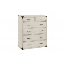 Providence Tall Dresser In Distressed White Finish by Franklin & Ben